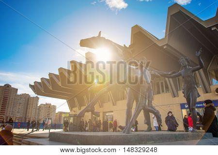 SAINT - PETERSBURG RUSSIA - MARCH 17 2016: Pionerskaya Metro Station. Entrance vestibule on metro. the monument to pioneers. ussr