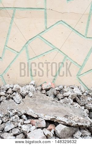 Cracked Rubble Floor And Crazy Paving Wall