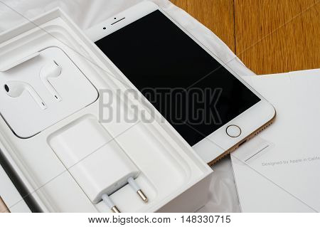 PARIS FRANCE - SEP 16 2016: New Apple iPhone 7 Plus unboxing in the first day of sales - full unboxing new Earpods and accesories. New Apple iPhone acclaims to become the most popular smart phone in the world in 2016