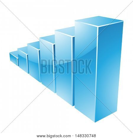 Illustration of Blue Glossy Stats Graph isolated on a white background