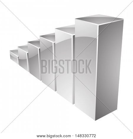Illustration of Grey Glossy Stat Bars isolated on a white background