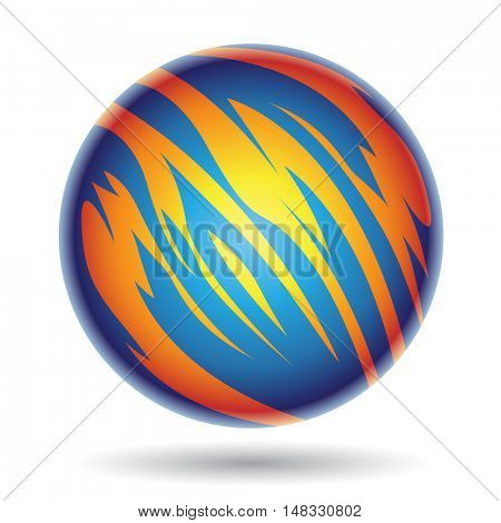 Illustration of Blue and Yellow Planet Sphere isolated on a white background
