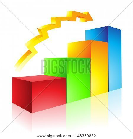 Illustration of Colorful Glossy Stat Bars and Arrow isolated on a white background