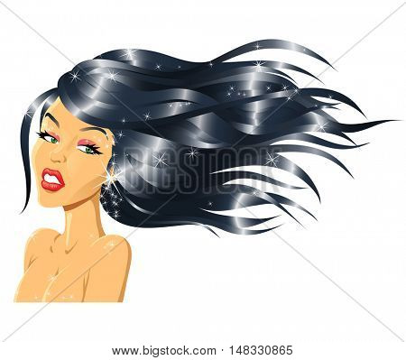 Illustration of Fashion Girl with Shiny Hair isolated on a white background