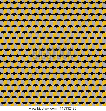 Geometric colorful pattern with cubes in op art style. Bold geometric techno print with color blocks. Simple monochrome tech texture for fall winter fashion and textile design. Graphic geometric print