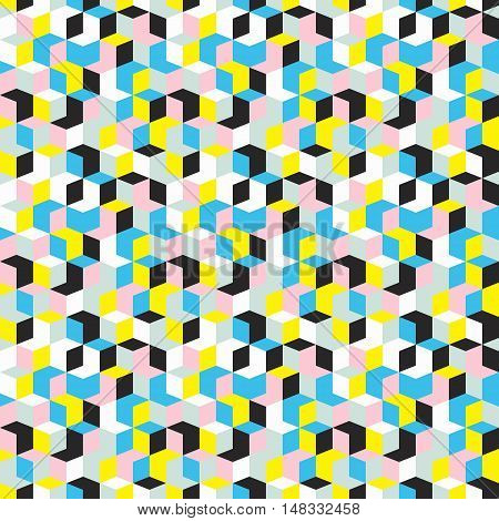 Vector geometric seamless pattern with diamond shapes in bright yellow, blue, pink color. Modern op art print with random mosaic cubes for fall winter fashion. Abstract techno memphis check background