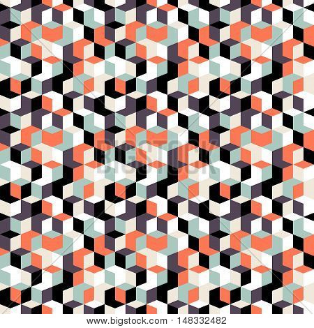 Vector geometric seamless pattern with small diamond shapes in black, grey, red color. Modern op art print with random mosaic cubes for fall winter fashion. Abstract techno memphis check background