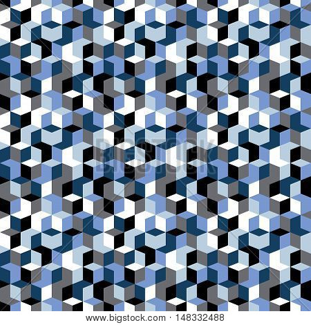 Vector geometric seamless pattern with diamond shapes in black, white, grey, blue color. Modern op art print with random mosaic cubes for fall winter fashion. Abstract techno memphis check background
