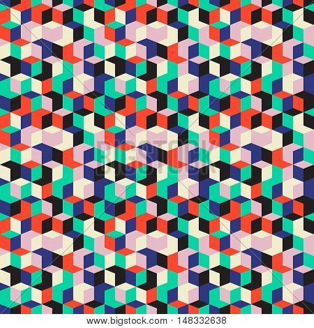 Vector geometric seamless pattern with diamond shapes in bright red, mint green colors. Modern op art print with random cubes for fall winter fashion. Abstract techno check background in memphis style