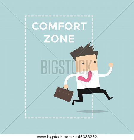Businessman jumping out of the comfort zone to success. Vector