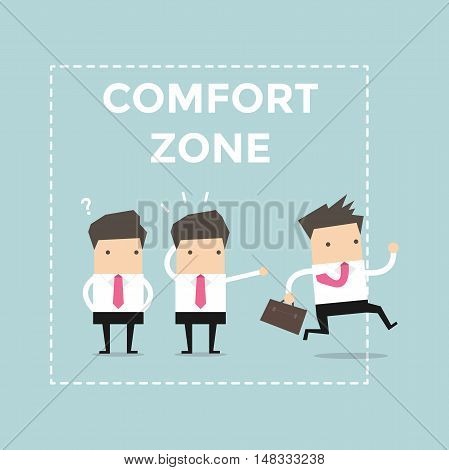 Businessman exit from comfort zone. vector illustration