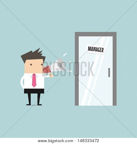 Businessman shouting through megaphone outside manager room. vector