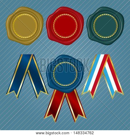 Different color Wax Seals with circular floral frame and different collection of ribbon