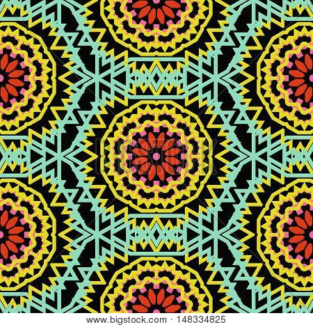 Vector tribal colorful bohemian pattern with big abstract flowers in bright colors. Geometric boho chic background with Arabic, Indian, Moroccan, Aztec ethnic motifs. Bold ethnic print with mandalas