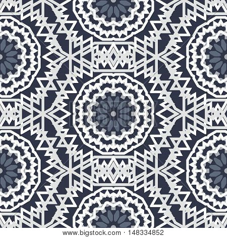 Vector tribal colorful bohemian pattern with big abstract flowers in monochrome color. Geometric boho chic background with Arabic, Indian, Moroccan, Aztec ethnic motif. Bold ethnic print with mandalas