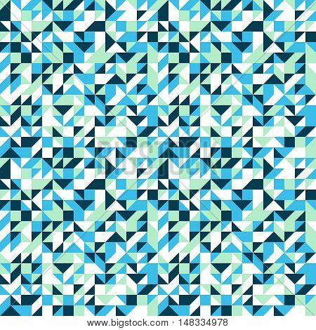 Vector geometric seamless pattern with small triangles in bright blue color. Modern bold print with small shapes for fall winter fashion. Abstract dynamic techno op art background. Geometry and mosaic