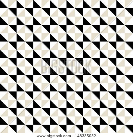 Small geometric abstract mosaic pattern with triangles and simple shapes in grey, white, black colors for fall winter fashion. Abstract techno op art background. Seamless vector monochrome print