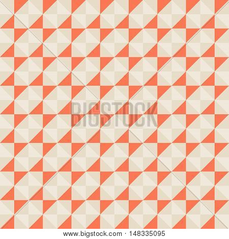 Small geometric abstract mosaic pattern with triangles and simple shapes in red, grey, pastel colors for fall winter fashion. Abstract techno op art background. Seamless vector print in memphis style