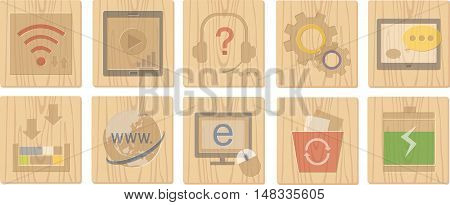 wood board icons and vector icons 4