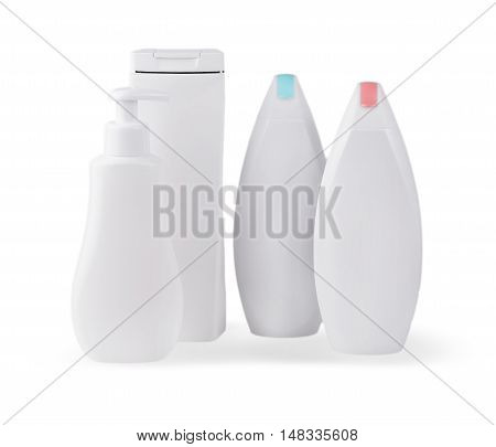 close up of a white bottles on white background with clipping path