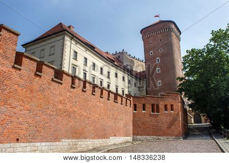 Medieval Senator tower on a Wawel hill as part of the Wawel Castle in Krakow. Poland.