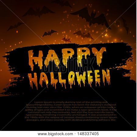 Happy Halloween Calligraphy. Halloween banner. Halloween lettering on a orange abstract background with bats and stars. Could be used for party inventation