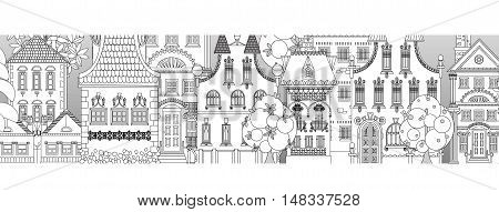Doodle of beautiful city with very detailed and ornate town houses, gardens,  trees and lanterns. City background