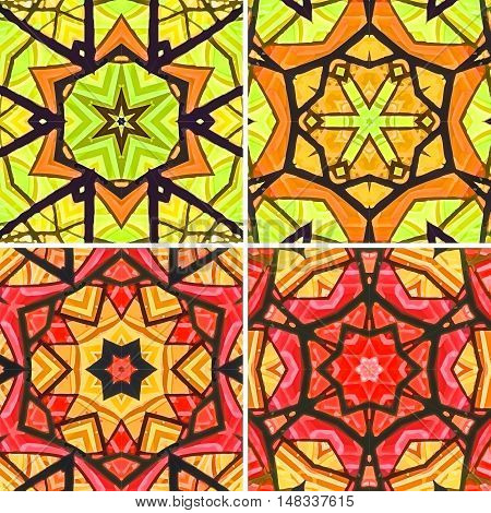 Set of stained glass patterns. Four seamless symmetrical background templates.  Multicolored vivid design element. Bright and beautiful kaleidoscopic texture for design uses