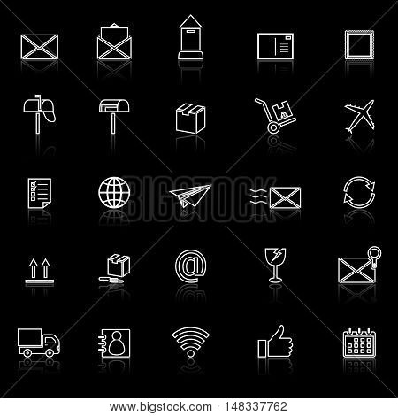 Post line icons with reflect on black background, stock vector