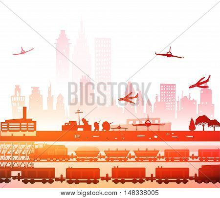 Train running through the city, Industrial concept illustration.