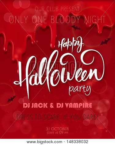 vector halloween party poster with hand lettering greetings label - happy halloween - on red bloody drips for you event.