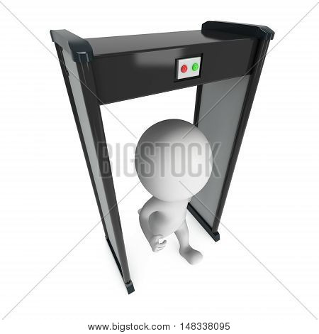 3D metal detector scanner and running man isolated on white background. Scanner entrance gate for prevent crime or terrorism in public place. Security concept.