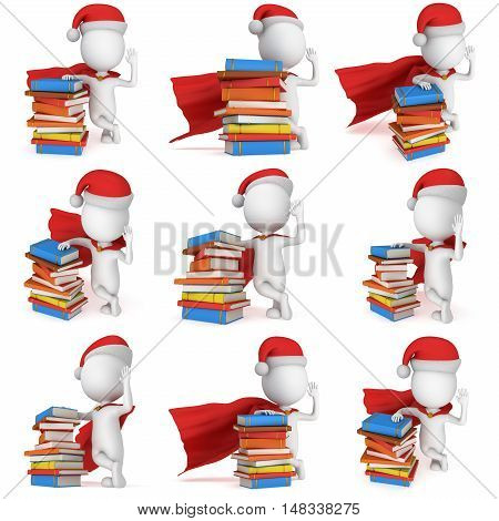 3d white man brave superhero set with red cloak and santa claus cap stand near pile of books. 3D render illustration collection isolated on white.