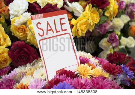 Label , price , sale , flowers, fake , plastic flowers , vase , beautiful , colorful