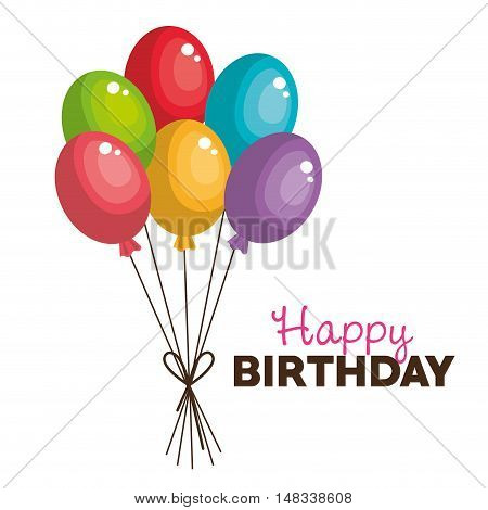 balloons happy birthday party graphic vector illustration eps 10