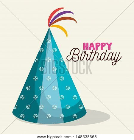 hat blue happy birthday party graphic vector illustration eps 10