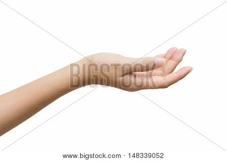 Empty female woman hand holding isolated on white background Clipping path included.
