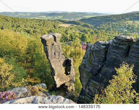 Sandstone rock city in Bohemia. Rock towers and formations