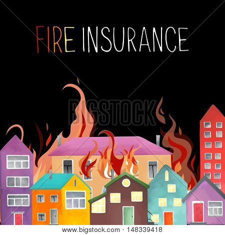 The fire in the city, fire comes out of the windows and spread to neighboring buildings. Mesh style. Vector illustration.