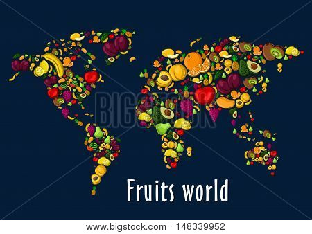 Fruits world map placard background. Vector wallpaper of globe continents of fruit icons watermelon, grape, strawberry, cherry, raspberry, blackcurrant, pineapple, kiwi, apricot, mango avocado banana