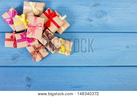 Wrapped Gifts With Ribbons For Christmas Or Other Celebration, Copy Space For Text