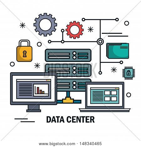 data center server technology digital isolated vector illustration eps 10