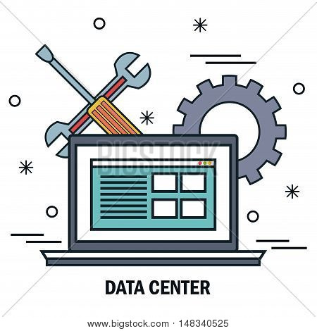 laptop support work data center server isolated vector illustration eps 10