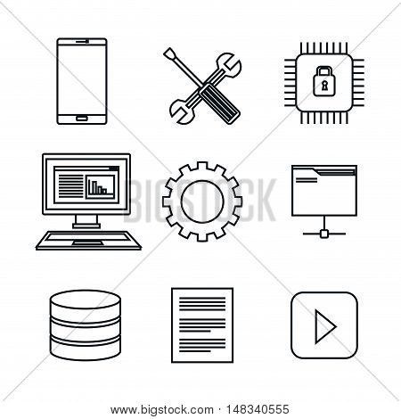 set icons database center server isolated vector illustration eps 10