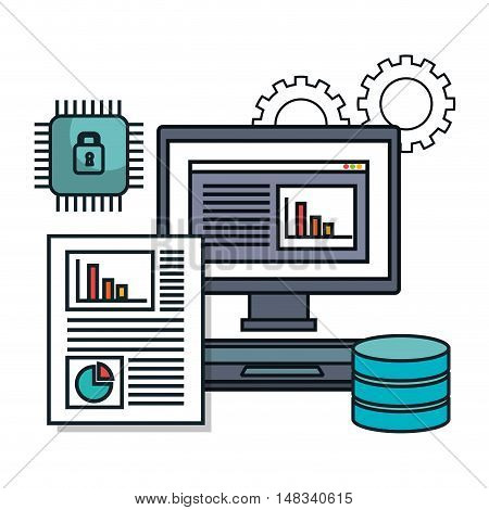 pc computer data base document isolated vector illustration eps 10