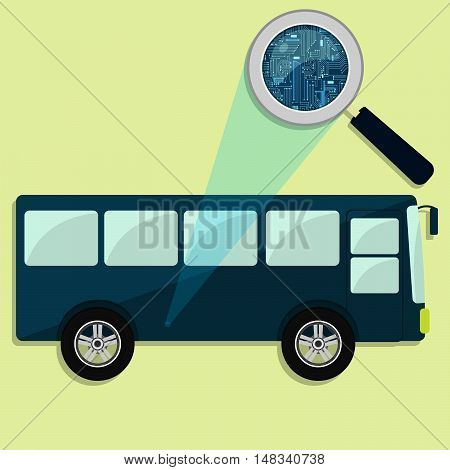 Bus, Magnifying Glass And Electronics