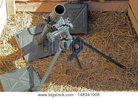 old German mortar on position in the trenches
