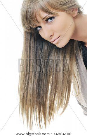 young beautiful woman fashion headshoot isolated on white
