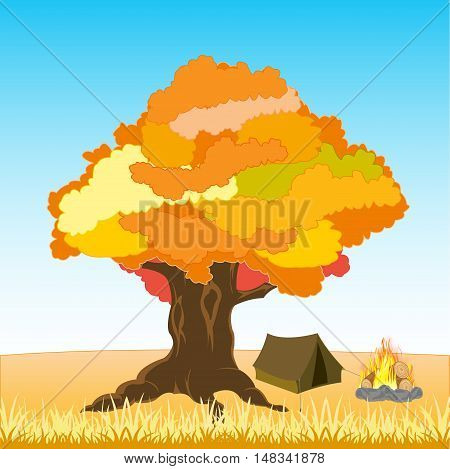 The Tent and campfire under tree by autumn.Vector illustration