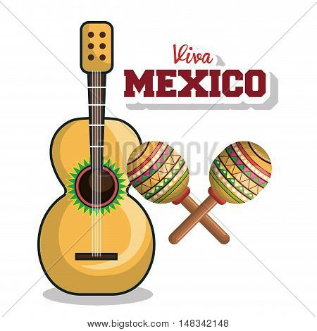 guitar and maraca viva mexico graphic vector illustration eps 10